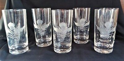 Vintage Set of 6 Signed Scottish Thistle Etched Glass Glasses Whiskey Tumblers