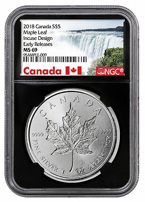 2018 Canada 1 oz Silver Maple Leaf -Incuse $5 NGC MS69 ER Black PRESALE SKU52136