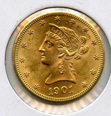 Amazing 1901-S United States $10 Liberty Head 90% Gold Coin RN552