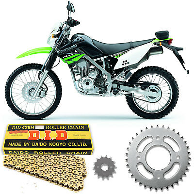 Kawasaki KLX 125 2010-2016 DID Gold Heavy Duty Chain and Sprocket Kit Set KLX125