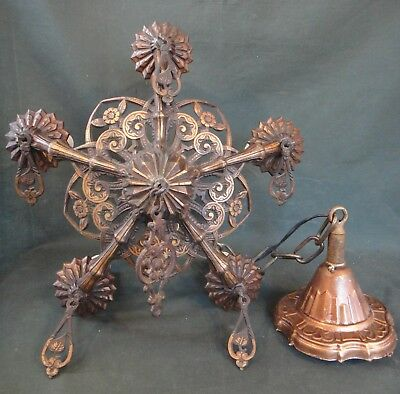 Bronze Antique Art Deco 5 Light Ceiling Fixture Chandelier - Works - Pendant