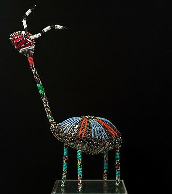 Folk Art South African Beaded Animal Over Batik Fabric and Hard Wire Frame