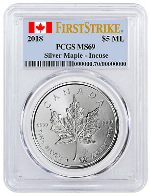 2018 Canada 1 oz Silver Maple Leaf Incuse $5 PCGS MS69 FS Flag Label SKU52146