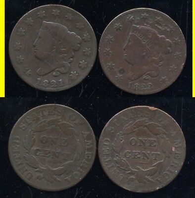 1821 And 1823/2 Large Cents- Scarce- No Reserve