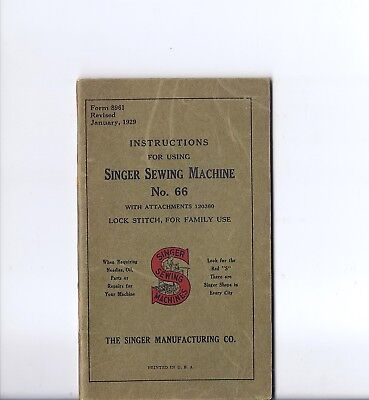 Antique 1929 Singer Model 66 Redeye Treadle Sewing Machine Instruction Manual