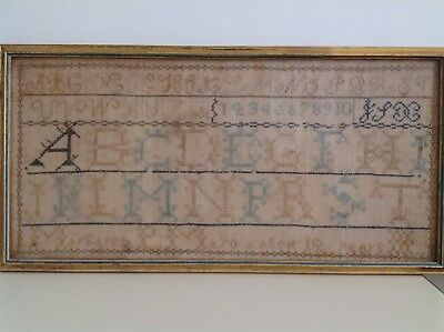 ANTIQUE 19TH C. ALPHABET SAMPLER by MARGARET P. MAYO aged 12 YEARS Vermont