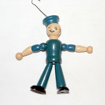 Popeye, the Sailor Boy. Wooden jointed Christmas Ornament. U.S.A. 1930s.