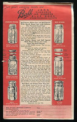 1930s BALL Canning Jars Closures Rubbers Supplies Pressure Cookers Advertisement