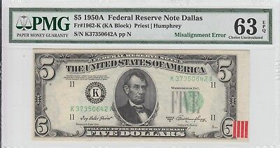 $5 1950-A Dallas Error Frn Misalignment With Bep Rejection Tag Pmg 63 Epq