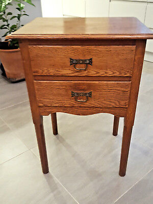 1927 oak occasional table with two drawers. Arts and crafts feel. Upcycle