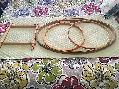 lot of 4 large vintage embroidery,needlepoint,quilting hoops 1 is square