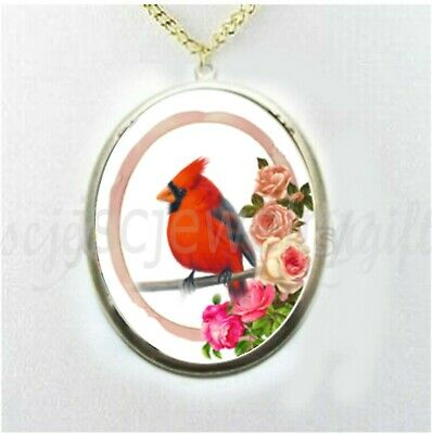 Red Cardinal Bird Pansy porcelain cameo Pendant Handmade Gold Plated Jewelry NEW