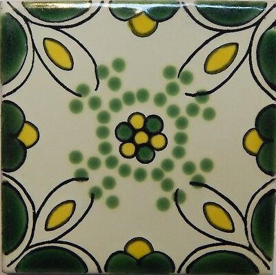 Mexican Tile Talavera Tiles High-Quality Hand Painted Terracotta Cross Tile T-51