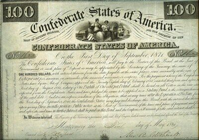 1861 Confederate States Of America $100 Bond Cr#6  18 Coupons Attached  Rare!