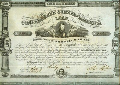 1862 Confederate States Of America $100 Bond Cr#32  13 Coupons Attached  Rare!