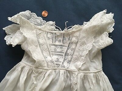 19th Century Christening Gown Whitework and lace Winged front