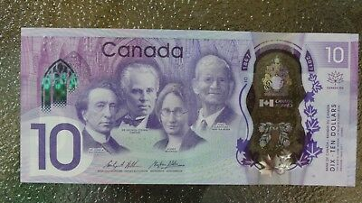 Canadian $10 Dollar Bank Note Polymer Bill CDE7093498 Circulated 2017 Canada