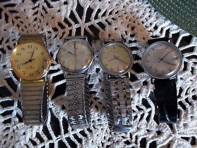 LOT of 4 ViNTAGE MENS TiMEX WATCHES - MANUAL WIND FOR PARTS OR REPAIR