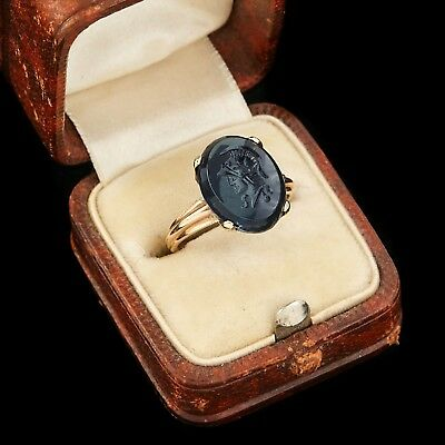 Antique Vintage Deco 10k Gold Carved Sapphire Glass Intaglio Cameo Ring Sz 4.75