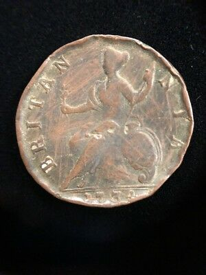 1734 Great Britain George II 1/2 Penny Britannia Collectible Coin