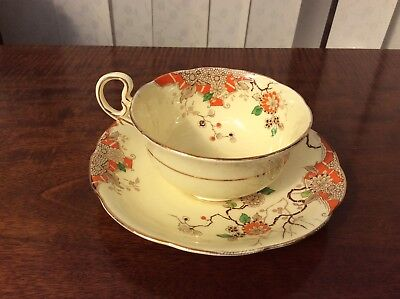 Beautiful Art Deco Grafton Cup & Saucer Hand Painted Orange Design