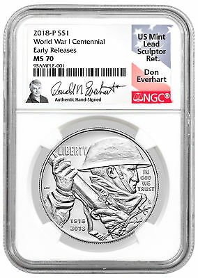 2018-P WWI Centennial Commemorative Silver Dollar NGC MS70 ER Everhart SKU52036