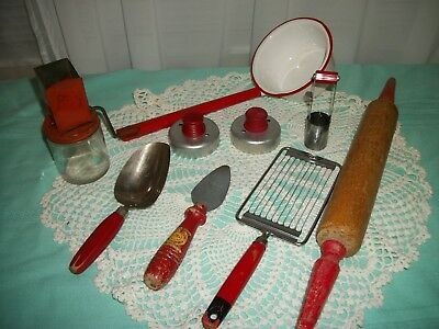 Lot Vintage Red Handle Kitchen Tools Utensils  9 pcs.