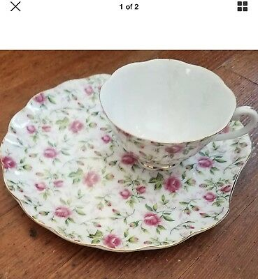 Vintage LEFTON CHINA Pink Rose Chintz Clam Snack Plate and Tea Cup Set