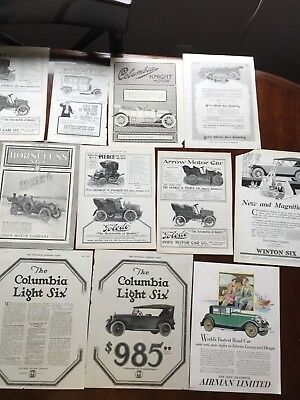 G 1909 to 1928 Old Car Ads Lot of 10