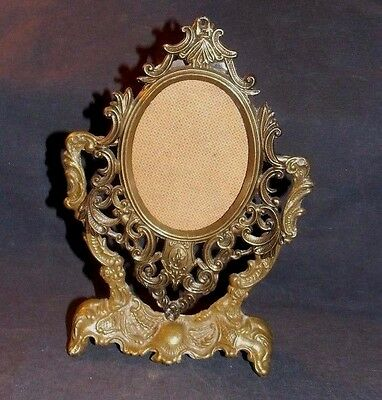 Unique Design Vintage Small Filigree Pedestal Metal Picture Frame!made In Italy!