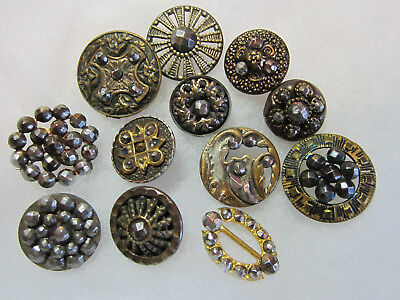 Lot Of Antique/ Victorian Metal/ Cut Steel Buttons & Belt Slide