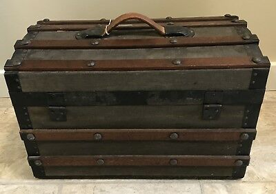 Antique Victorian Dome Top Steamer Trunk Rare Size with Original Key Wood Clean!