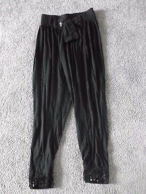 Girls Black Leggings Age 9-10 Years Excellent Condition