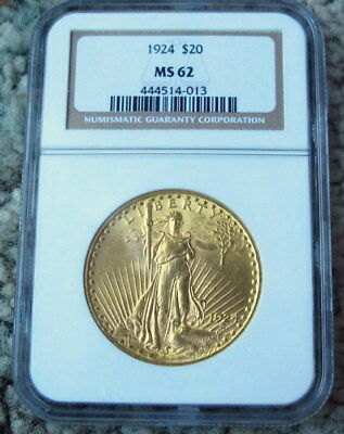 20 dollar gold coin, 1924, MS 62 NGC Excellent Condition
