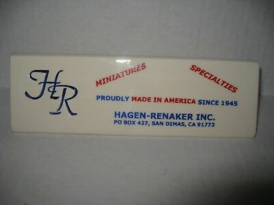 Hagen-Renaker Advertising Ceramic Sign Plaque - White, Red & Blue