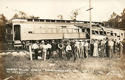IND RPPC Wabash Valley Train Wreck Kingsland Indiana Real Photo Postcard