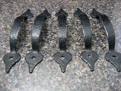 Lot of 5 Vintage Black Hammered Cabinet Door Handles Pulls Drawer