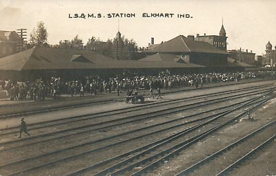 IND RPPC L.S. & M.S. Railroad Depot Elkhart Indiana Real Photo Postcard