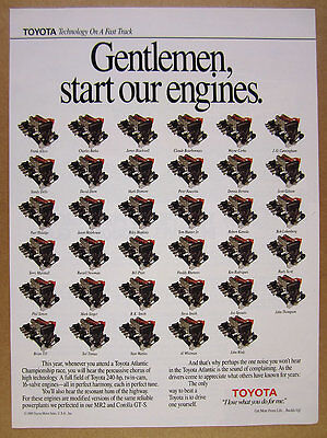 1990 Toyota Atlantic Championship Series Race Car Engines vintage print Ad