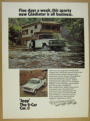 1970 Jeep Gladiator Pickup Truck crossing river camper photo vintage print Ad
