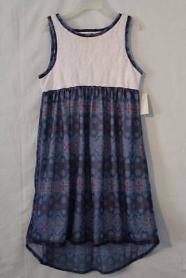 NEW Girls Hi-Low Dress Medium 7 - 8 White Lace Blue Silky Patterned Sleeveless
