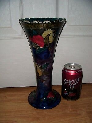 Rubens Ware by Hancock &Sons Pomegranate Pattern Fluted Vase c1915 Hand Painted