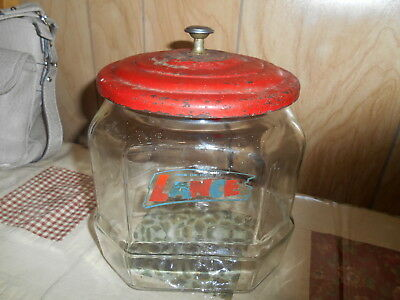 Vintage LANCE Crackers / Snacks Glass Jar with Red Original Lid!  Awesome item!