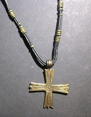 Genuine Ancient Bronze Cross Necklace from Byzantine