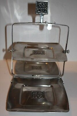 Antique Chrome Art Deco 3 Tray Folding Serving Tray