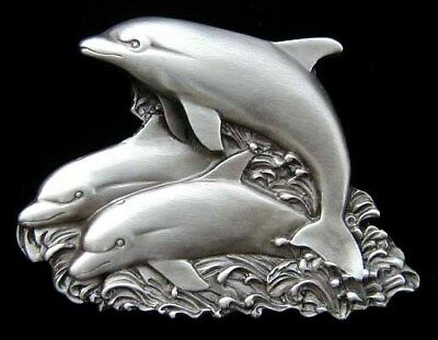 Dolphin Trio Belt Buckle Very Nice New!