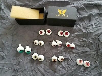BJD SD MSD Jointed Doll Lot Eyes 9 Pairs Glass Fantasy Colors 12mm 14mm 16mm