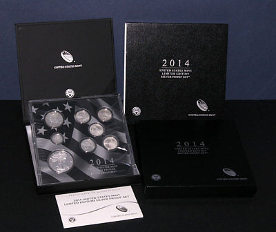 2014 U.S. Mint Limited Edition Silver Proof Set Box Slip Cover COA