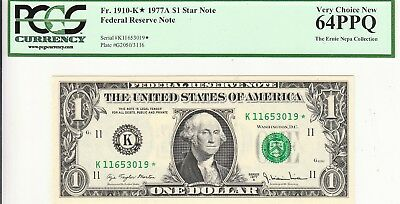 $1 1977-A Star  Federal Reserve Note Pcgs 64  Ppq Ernie Nepa Collection