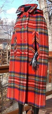vtg RED PLAID WOOL full length HOODED CAPE Irish Ireland Bunratty handcrafted M